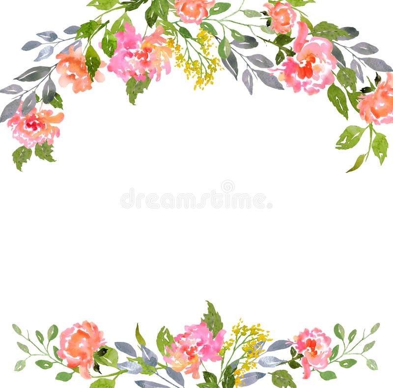 Download Watercolor Floral Card Template Stock