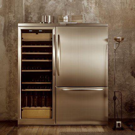 Ensemble Combine Carrosse En Inox Refrigerateur Et Cave A Vin De