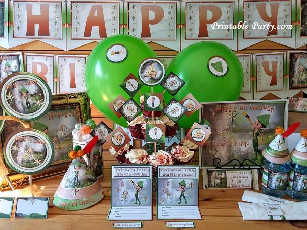 Printable Peter Pan Party Supplies Neverland Theme Decorations