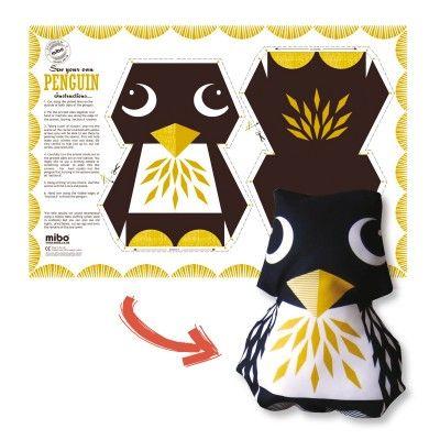 DIY soft toy with auk graphic, 100% organic cotton /// Doudou DIY à faire soit-même en 100% coton bio 15€ on coqenpate.com