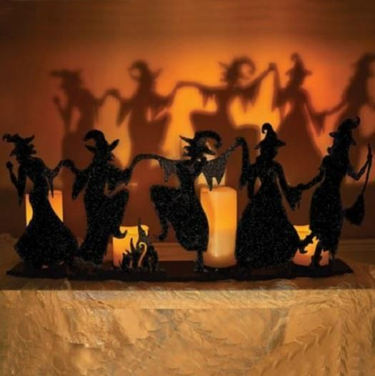 black iron metal dancing witch silhouette candle holder halloween decor