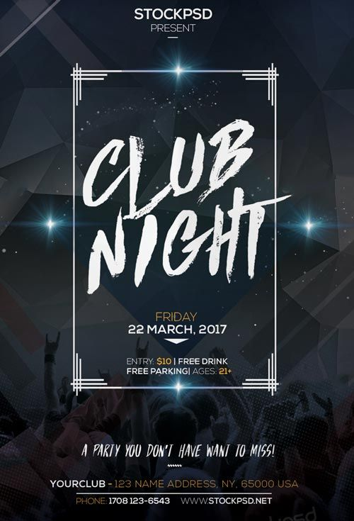 Club Night Party Free Flyer PSD Template - http://freepsdflyer.com ...