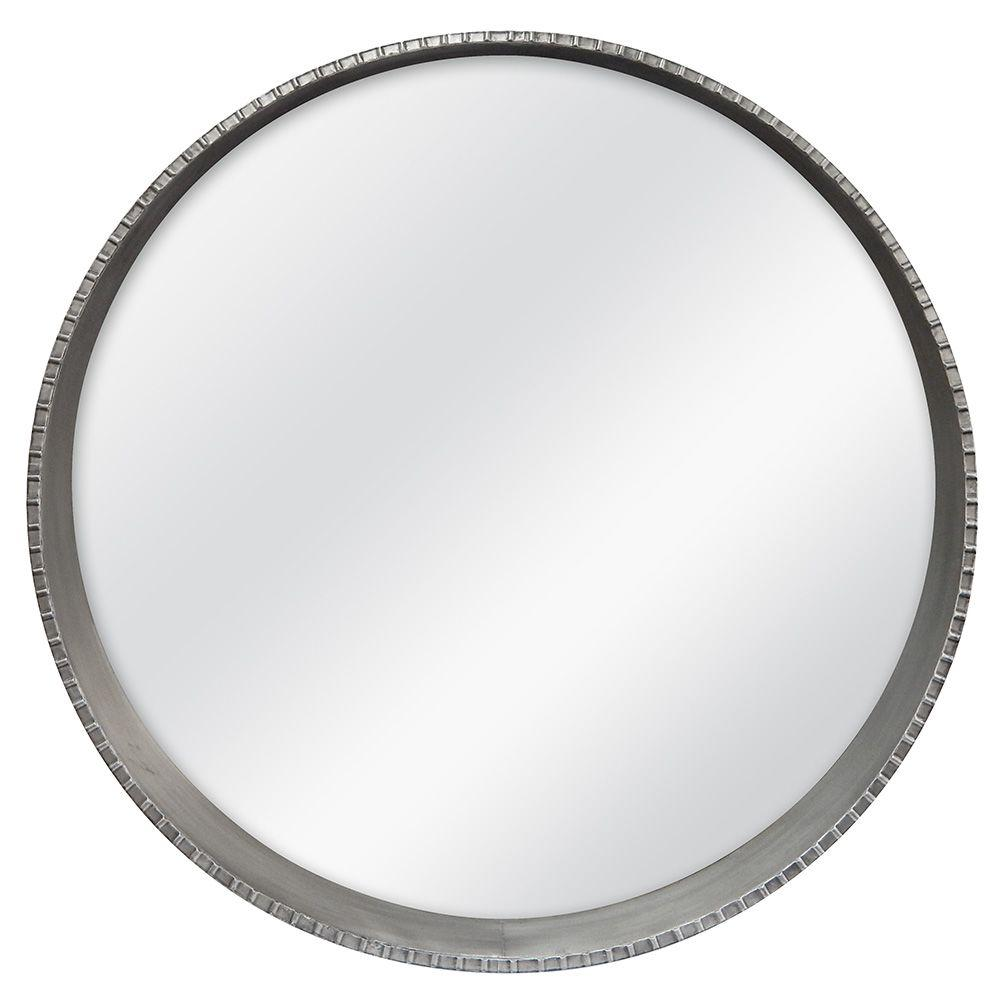 Mcs Summit 30 In H X 30 In W Round Framed Mirror With Built In Ledge In Pewter 85083 The Home Depot Mirror Frames Large Round Mirror Mirror