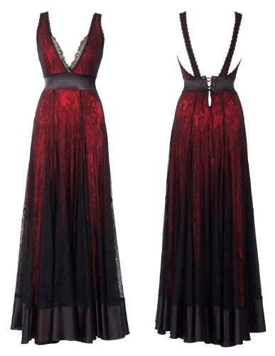 Lace Story Dramatic A-Line Red Lining and Black Lace Floor-Length ...