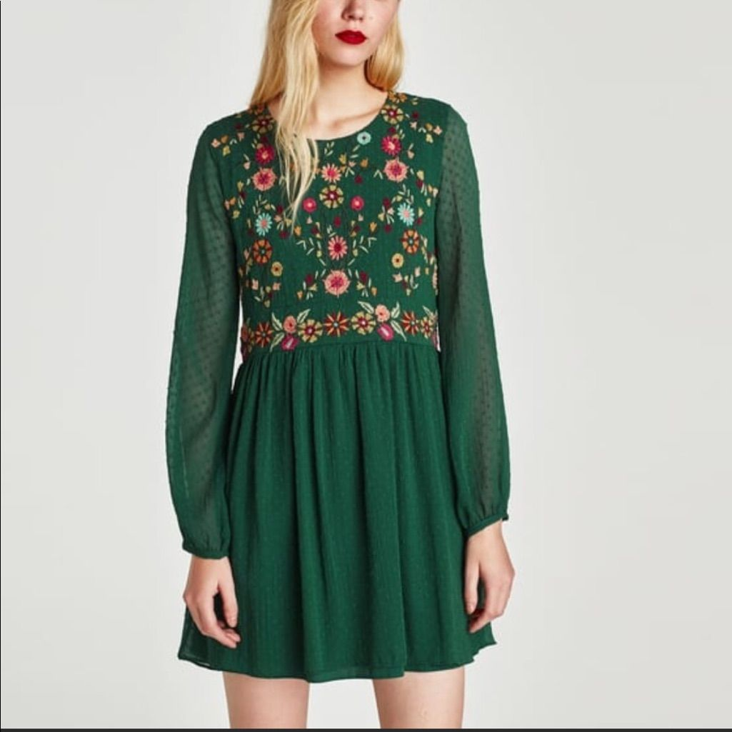 9acef0af Trafaluc Zara Green Embroidered Dress | Products | Dresses, Mesh ...