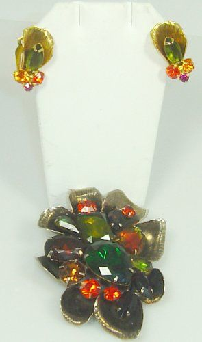 Large Vintage Brooch and Earring Set