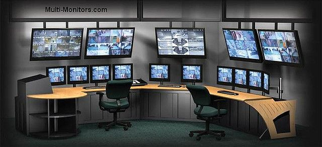 Giant multiple monitors workstation command center for security tv production video editing desk - Ultimate cad workstation ...
