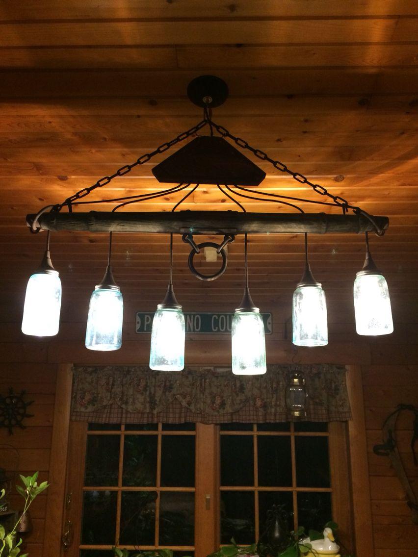 Vintage Mason Jar Horse Yoke Light Fixture Chandelier Mechanical - Basement light fixture