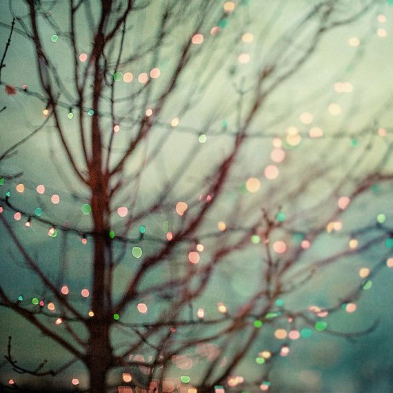 Pastel Holiday Decor. Dreamy Christmas lights in teal, mint and ...