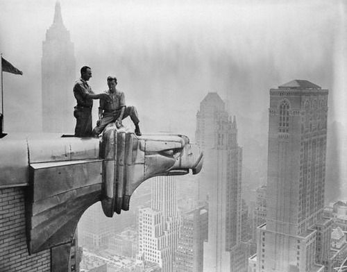 Guys Posing On The Chrysler Building S Famous Eagles In The