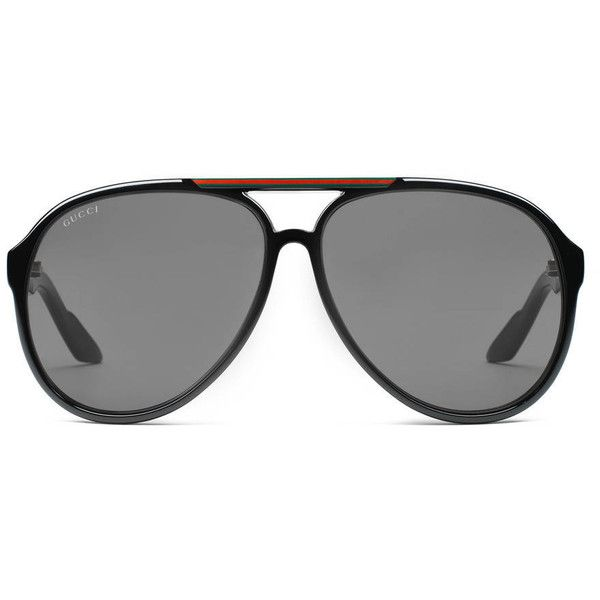 274e36a041 Gucci Medium Aviator Sunglasses With G Detail And Signature Web On... ( 235