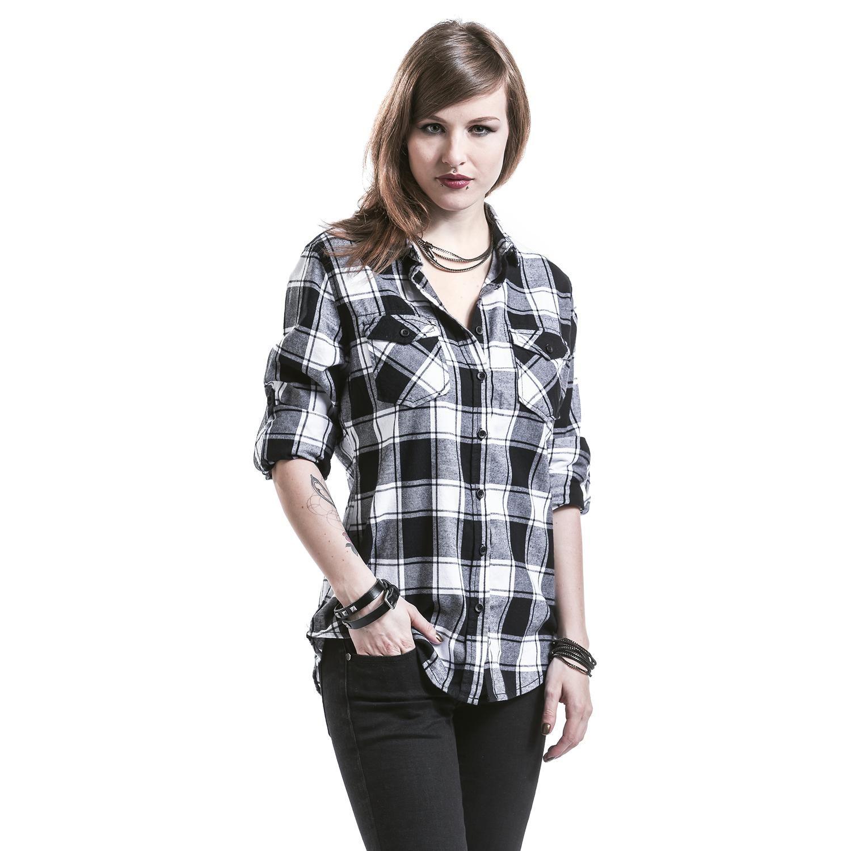 43759ca66 Resultado de imagen para camisas para mujer a cuadros blanco y negro ...