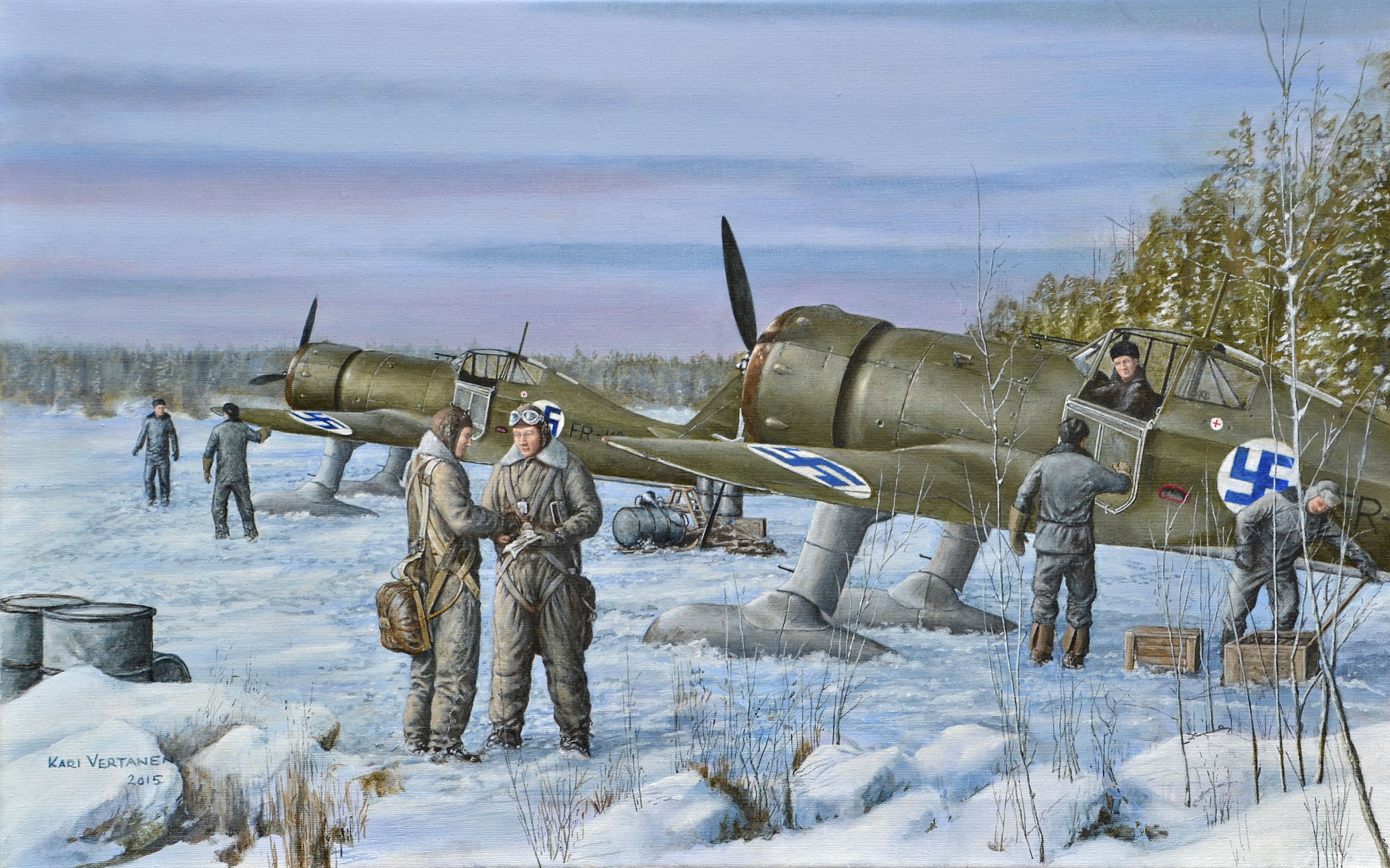 Fokker D21 fighters of No. 24 Squadron preparing for flight during Winter War in March 1940.