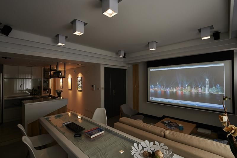 Interesting Furniture Layout On Modern Minimalist Apartment Design Large Projector Screen The Living Room