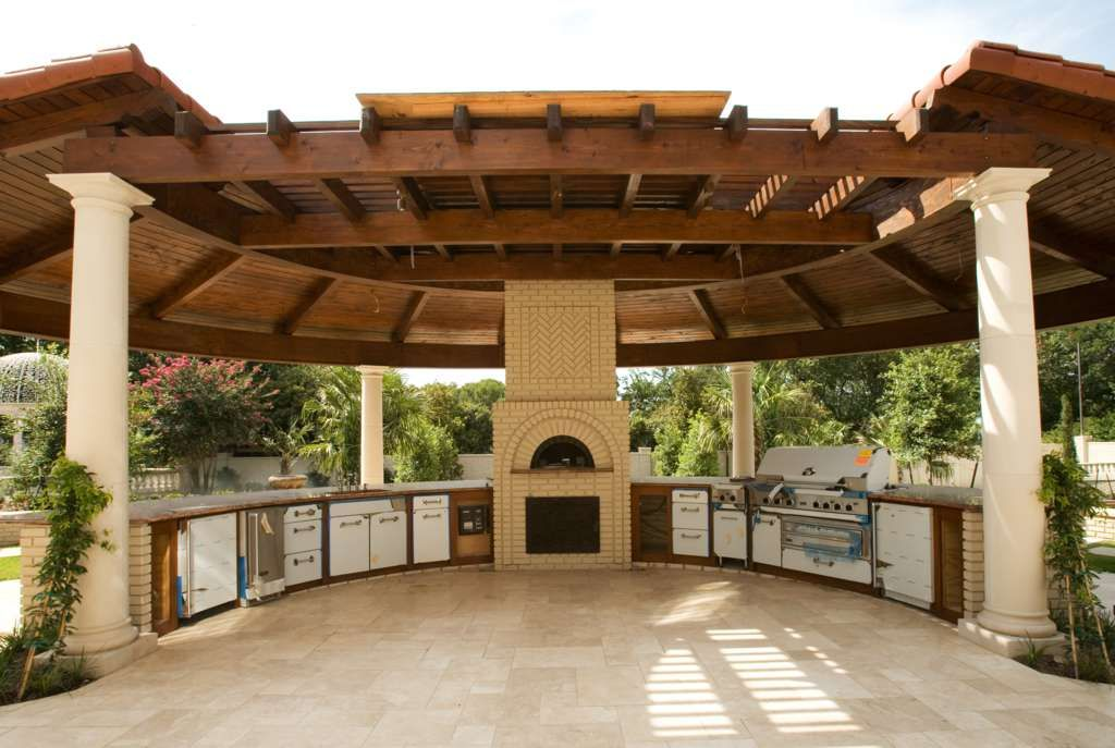 Spacious outdoor kitchen with gazebo 50 outdoor kitchen for Outdoor gazebo plans with fireplace