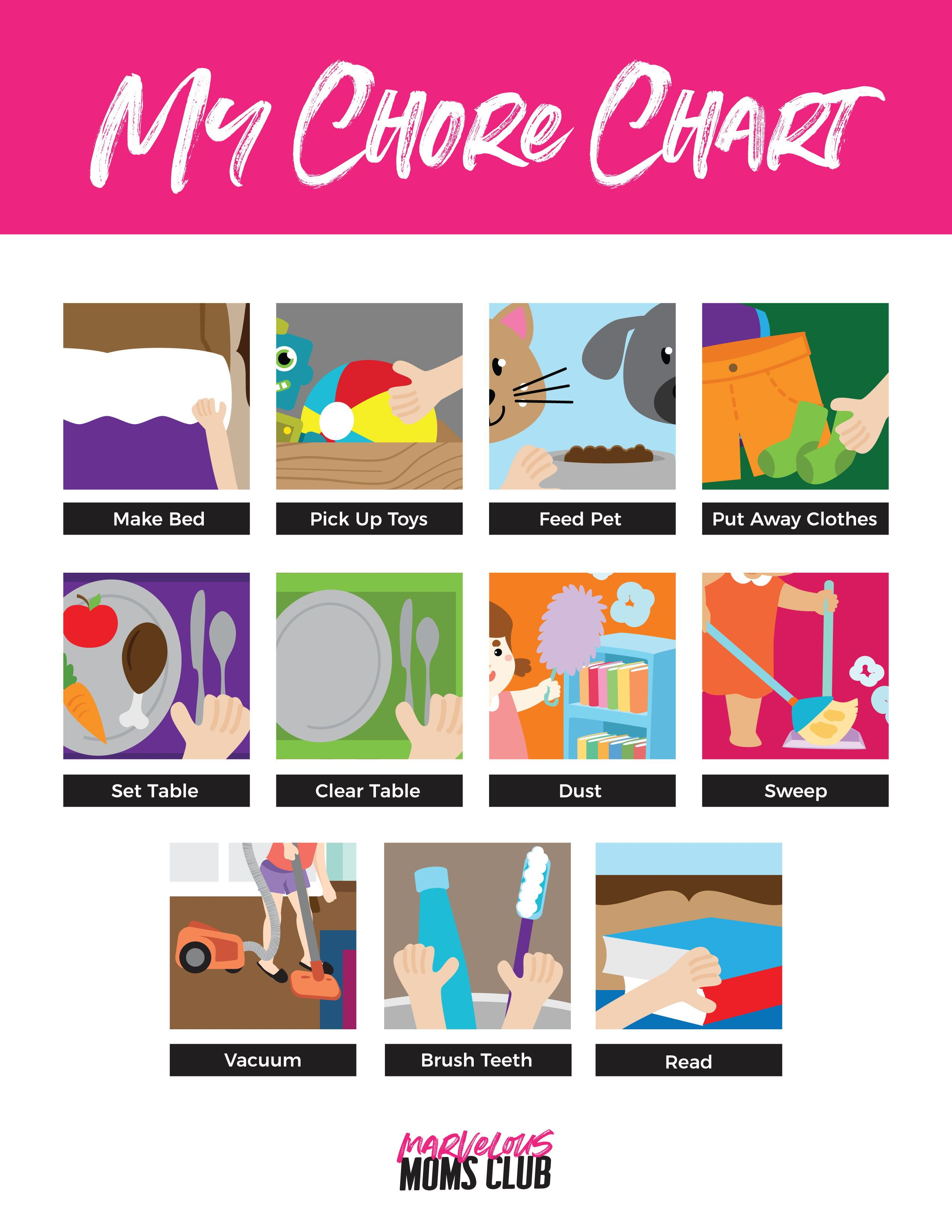 Visual Chore Chart For Young Kids Free Printable Picture