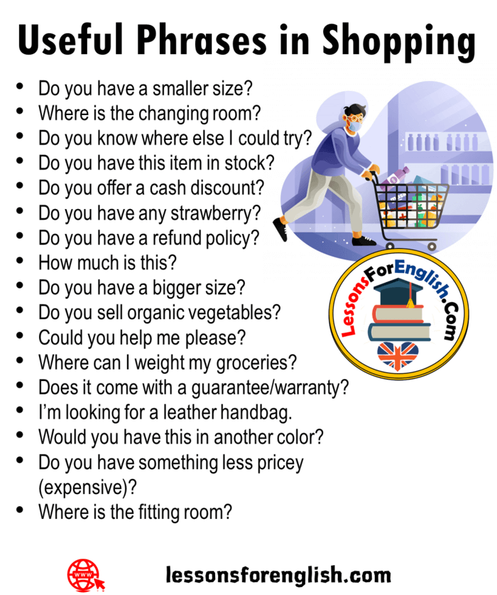 Useful Phrases In Shopping Do You Have A Bigger Size Do You Sell Organic Vegetables Could You He English Phrases Interesting English Words English Vocabulary