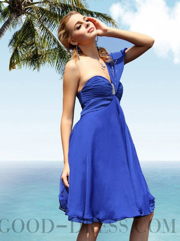 Refreshing A-line One Shoulder Sleeveless Chiffon Homecoming Dresses