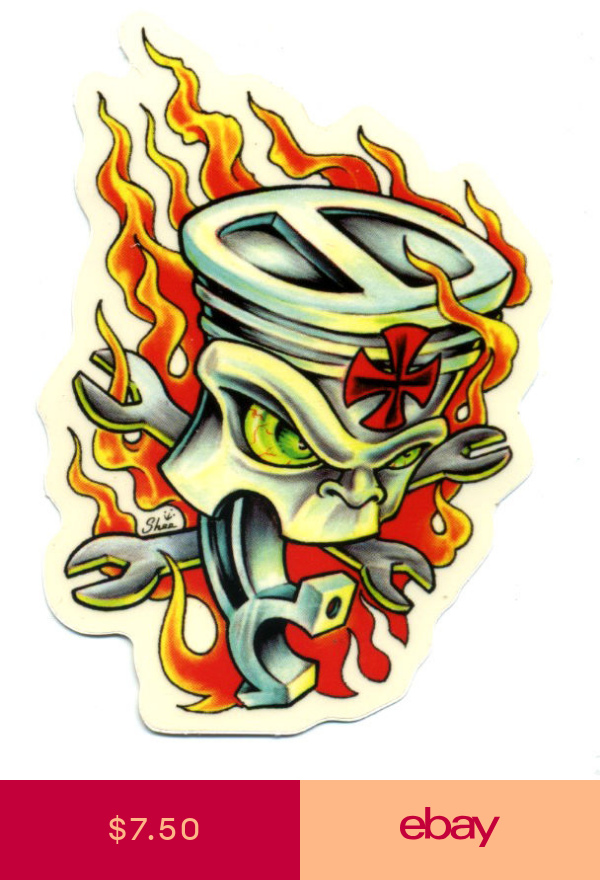 Flaming Piston Sticker Hot Rod Drag Race Tattoo Kustom Kulture Kustom Kulture Art Piston Tattoo Hot Rod Tattoo