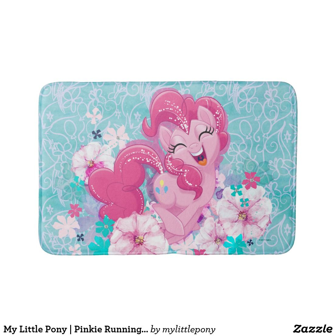 My Little Pony Pinkie Running Through Flowers Bath Mat Zazzle