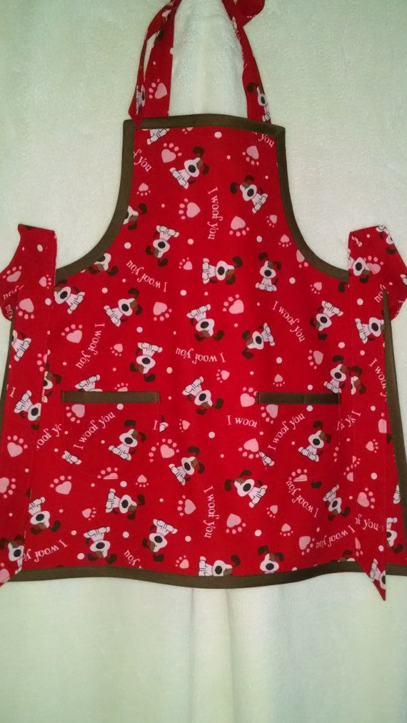 Childrens Valentine Apron Dog And Hearts By MaryMagicalMemories