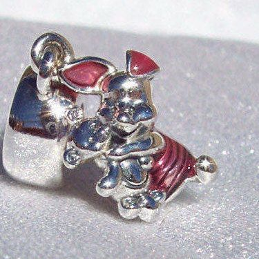 Argent Sterling 925 Disney Winnie The Pooh bear Fit European Charm Bracelet