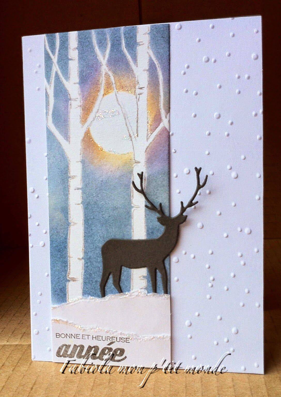 deer silhouette: Taylored Expresions?, sponged background, winter, birch tress, mon p'tit monde: