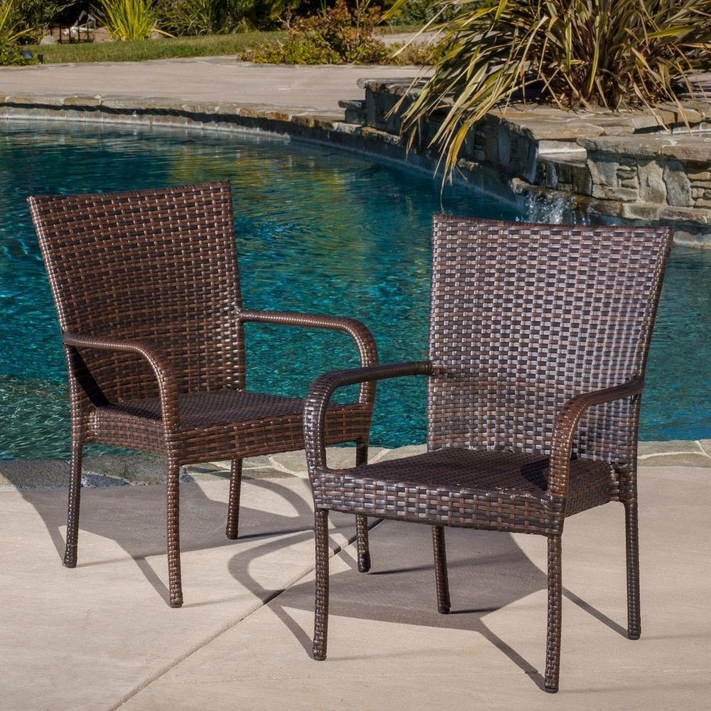 Home garden furniture  Outdoor PE Wicker Stackable Club Chairs Set of  by Christopher