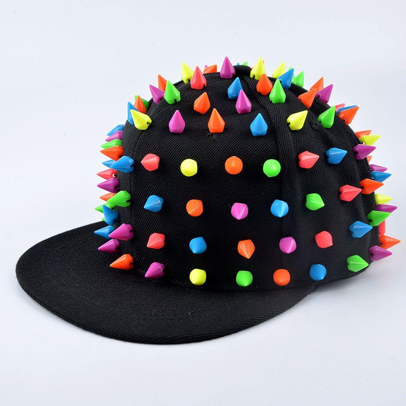 d9c5cc08d73 Best seller Punk Hedgehog Rock Hip Hop Silver Rivet Stud Spike Spiky Hat  Cap Baseball Caps