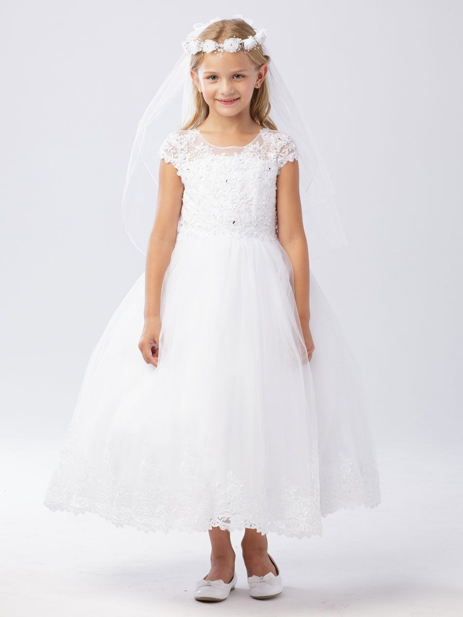 2dfd151be0c3 Lace First Communion Dress with Cap Sleeves
