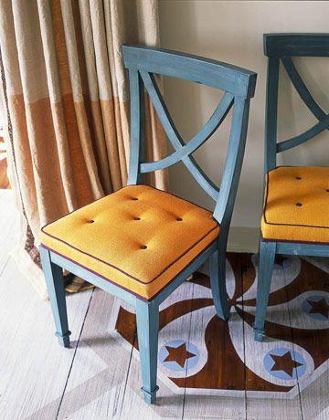 Blue and orange cushion!