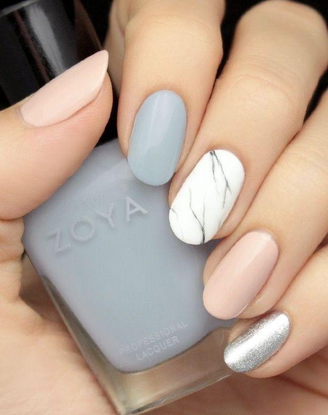Marble Grey Silver And Pink Nails Marble Nails Tutorial Nails Pretty Nails