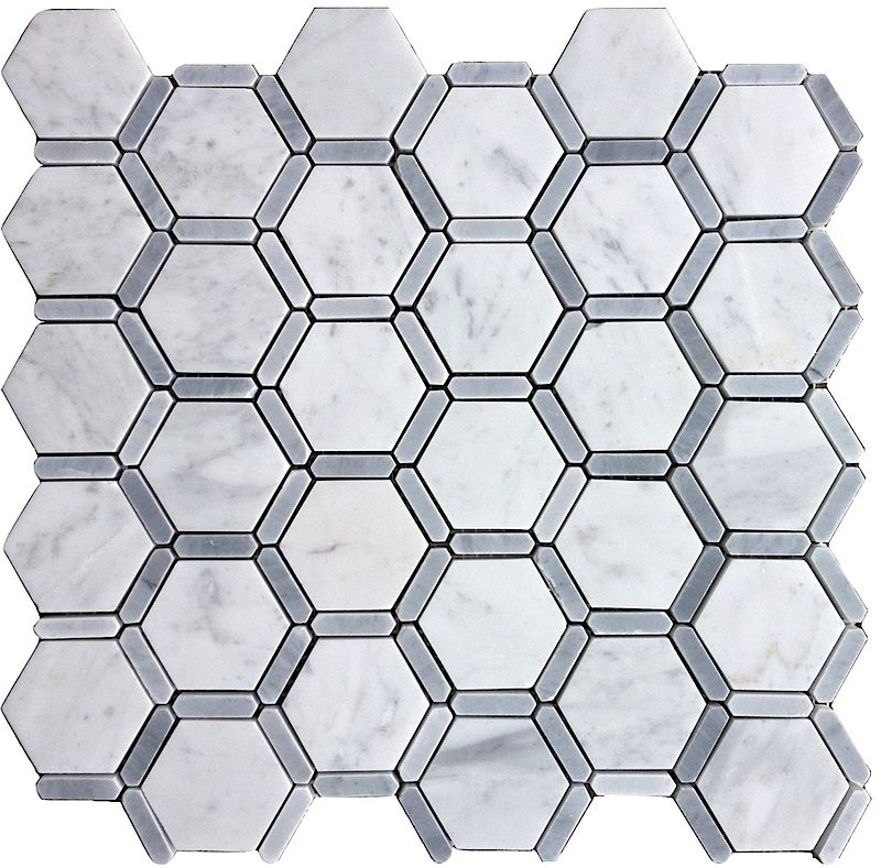 "Carrara (Carrera) Bianco Bardiglio 2"" Hexagon Honed Marble Mosaic Master Bath Floor $12.95 sq/ft"