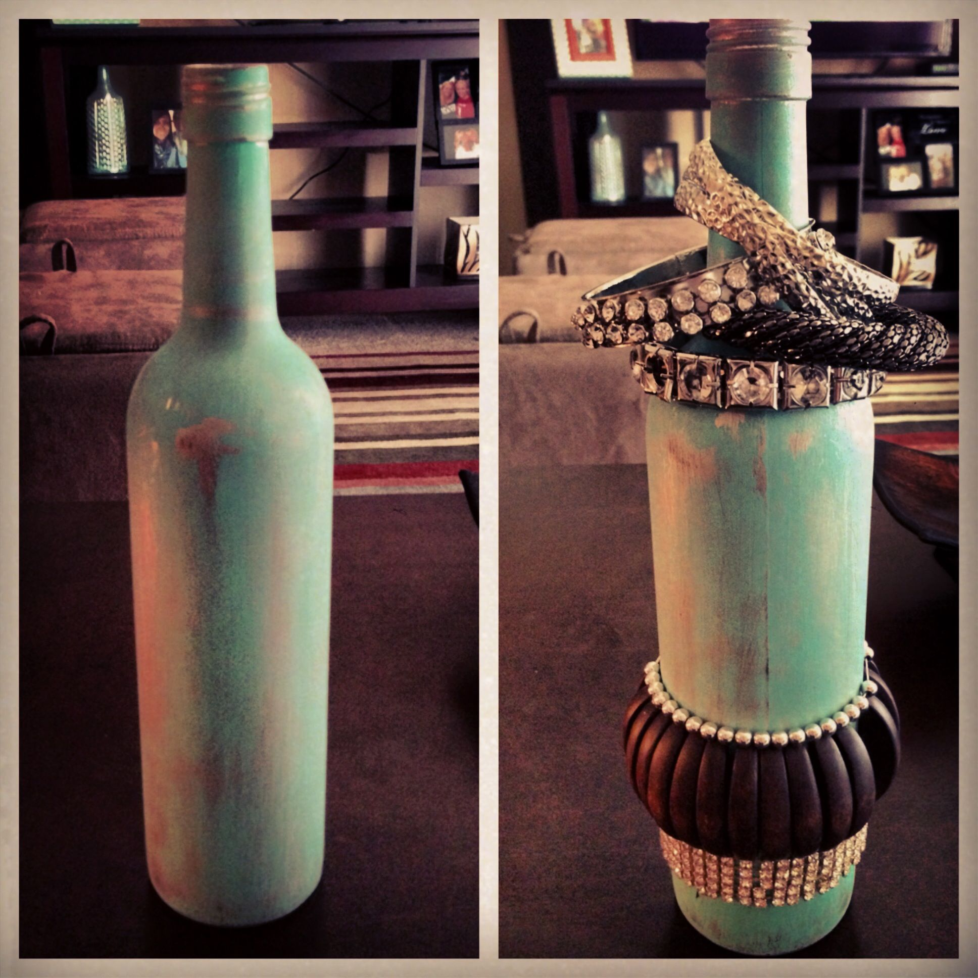 DIY bracelet holder Distressed wine bottle turned