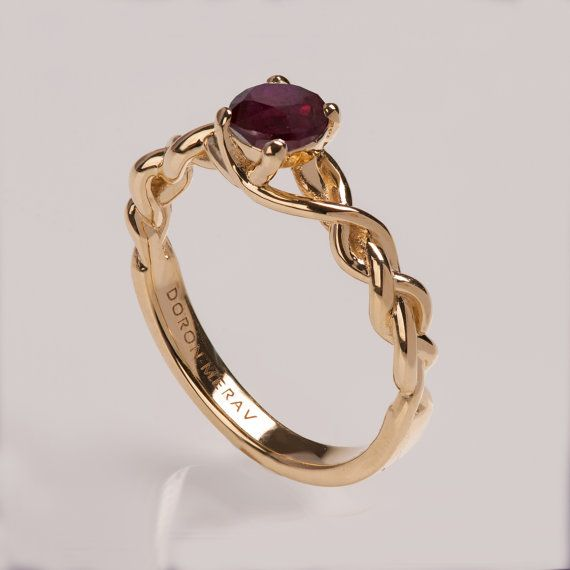 Braided Engagement Ring 14K Gold and Ruby engagement ring