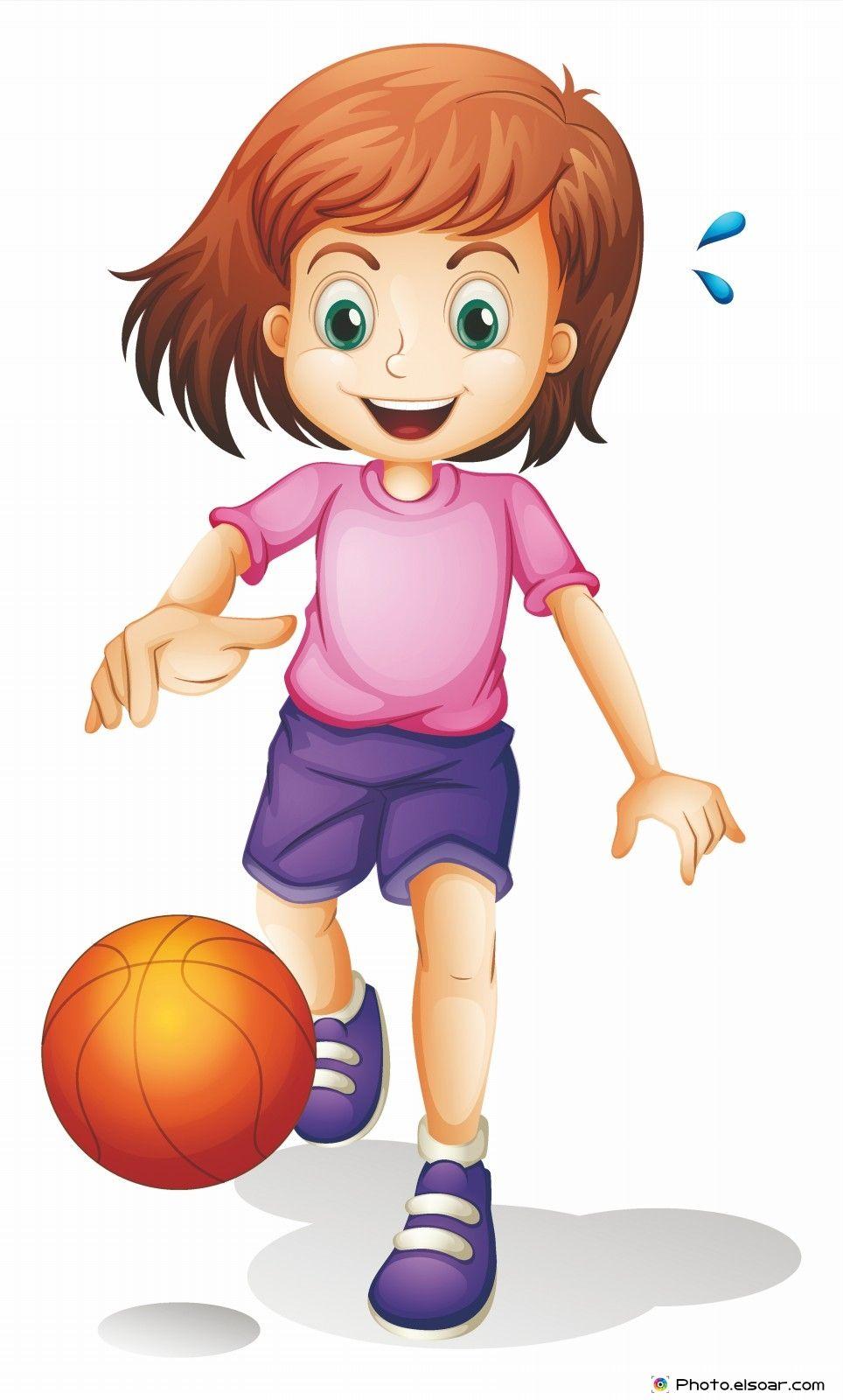 Little Girl Playing Volleyball Cartoon Clipart Vector Friendlystock Cartoon Clip Art Children Illustration Sport Illustration