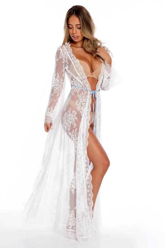 c330154ad0931 White Sheer Lace Kimono - Bridal Lingerie - Floor Length White Robe with  Blue Satin Belt - Honeymoon