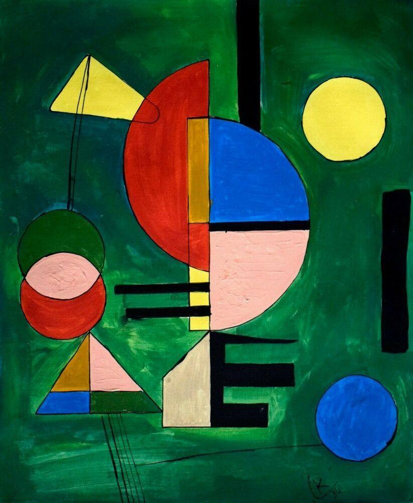 Vintage Abstract Canvas Signed K (Kandinsky), Modern Art