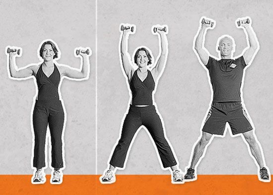 Stand with your feet under your hips. Grasp a dumbbell in each hand with your elbows bent and hands at ear height. Jump your feet out into a wide angle as you press the dumbbells overhead, keeping them above your shoulders. Bring your feet back together as you lower the dumbbells. Jump for one minute.  Photos: Shona Valeska courtesy of Ultimate New York Body Plan (McGraw-Hill)