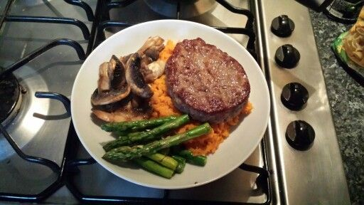 *musclefood steak *sweet potato *asparagus *mushrooms
