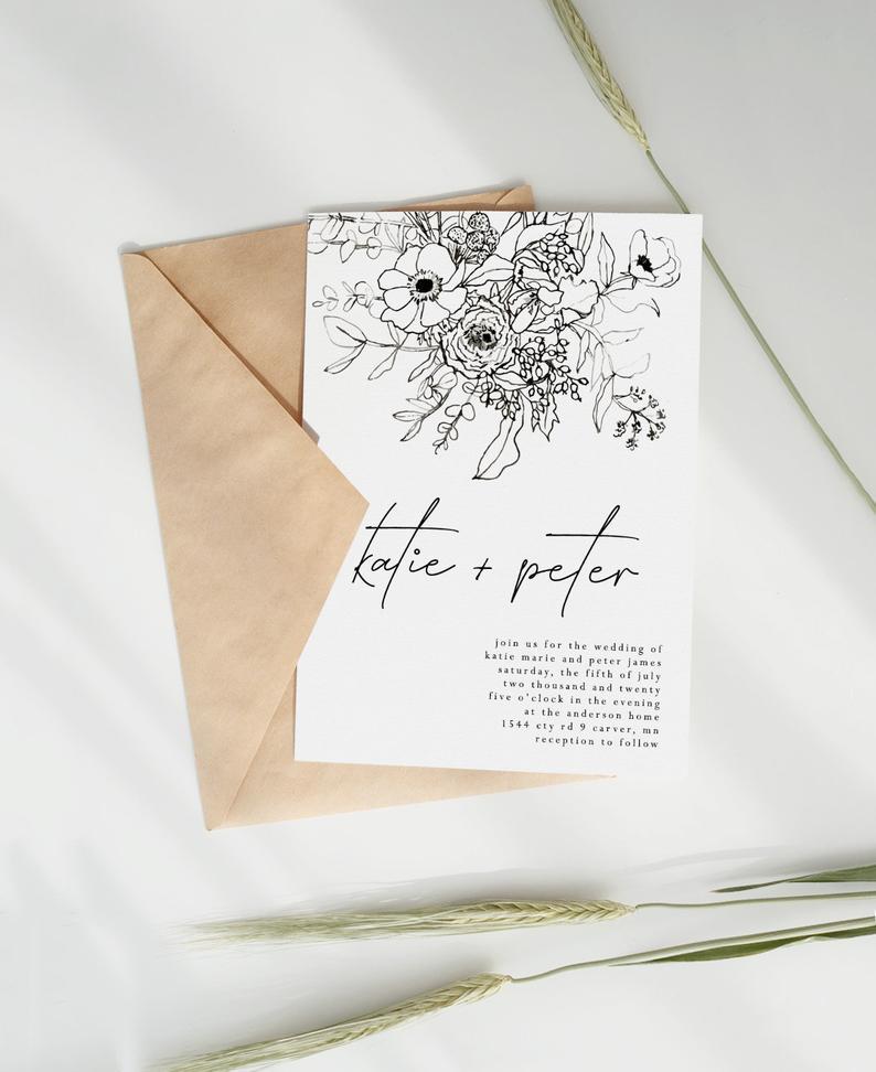 Flowers Wedding Invitation Template, Calligraphy Wedding