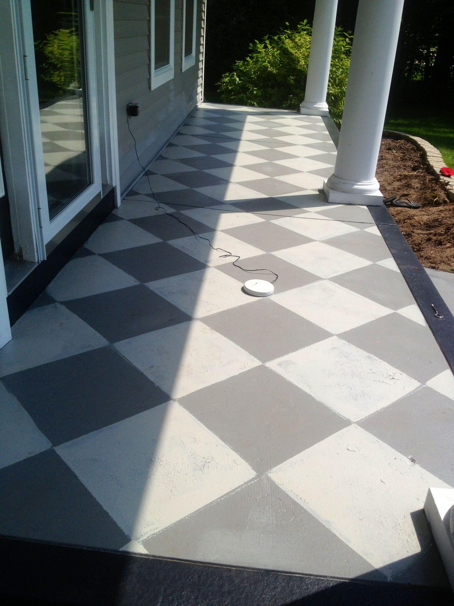 Grey Painted Patio Slabs