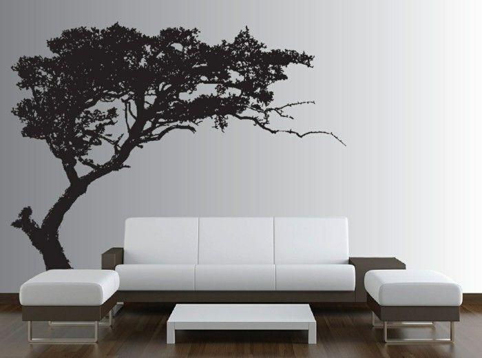 wand deko ideen fürs wohnzimmer toller baum an der weißen wand