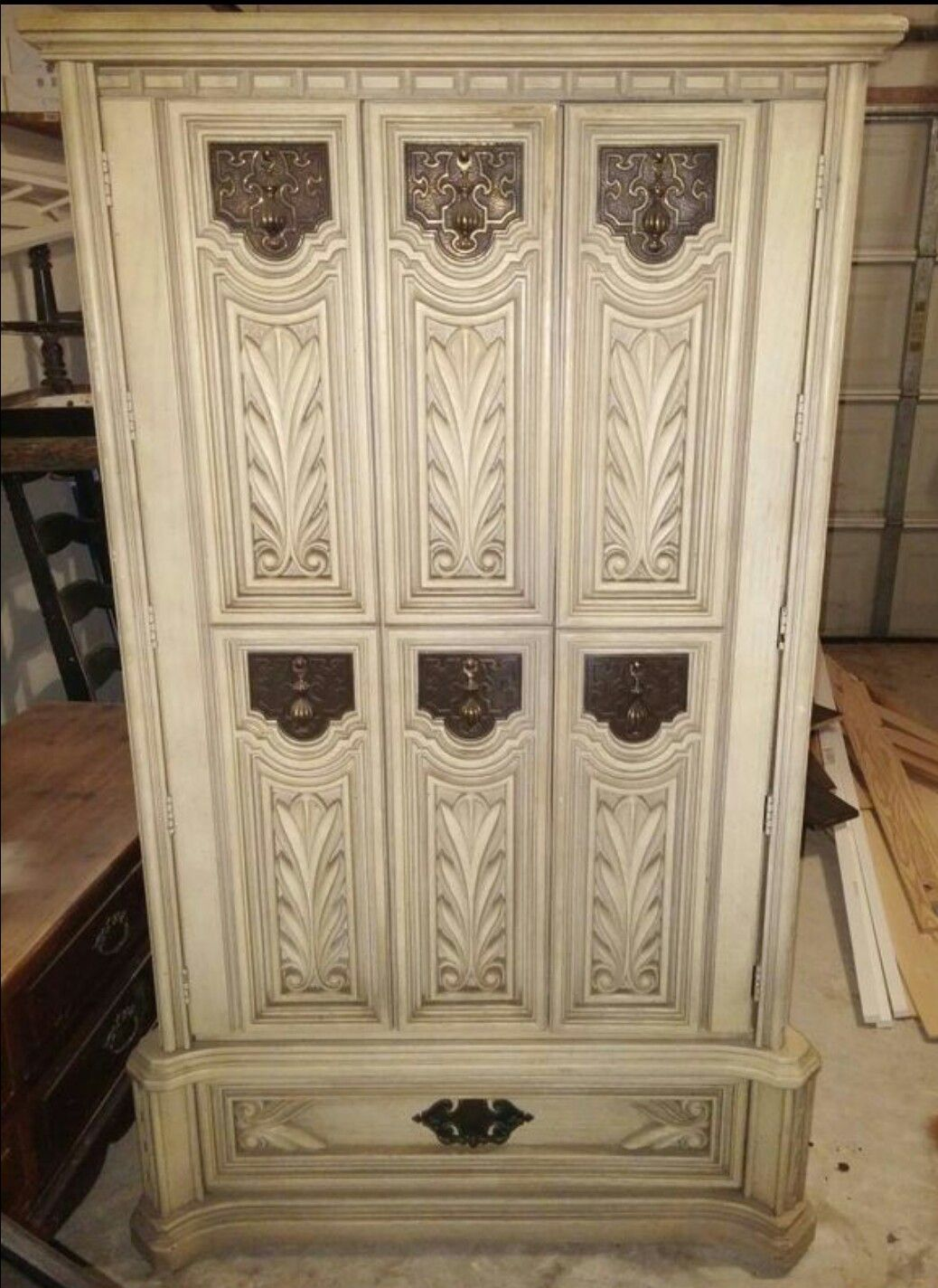 Vintage 60u0027s, 70u0027s Toledo White Bassett Hollywood Regency Carved In Solid  Oak Armoire, Chest