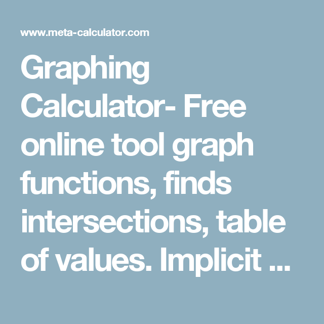 Graphing Calculator- Free online tool graph functions, finds ...