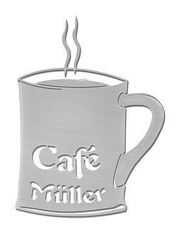 Aus Edelstahl - Türschild Kaffeebecher mit Firmenname oder für Pausenraum Typ 18