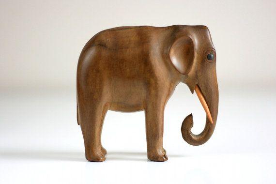 VINTAGE ELEPHANT WOOD ART HAND CARVED STATUE SCULPTURE CRAFTS HOME DECORATION