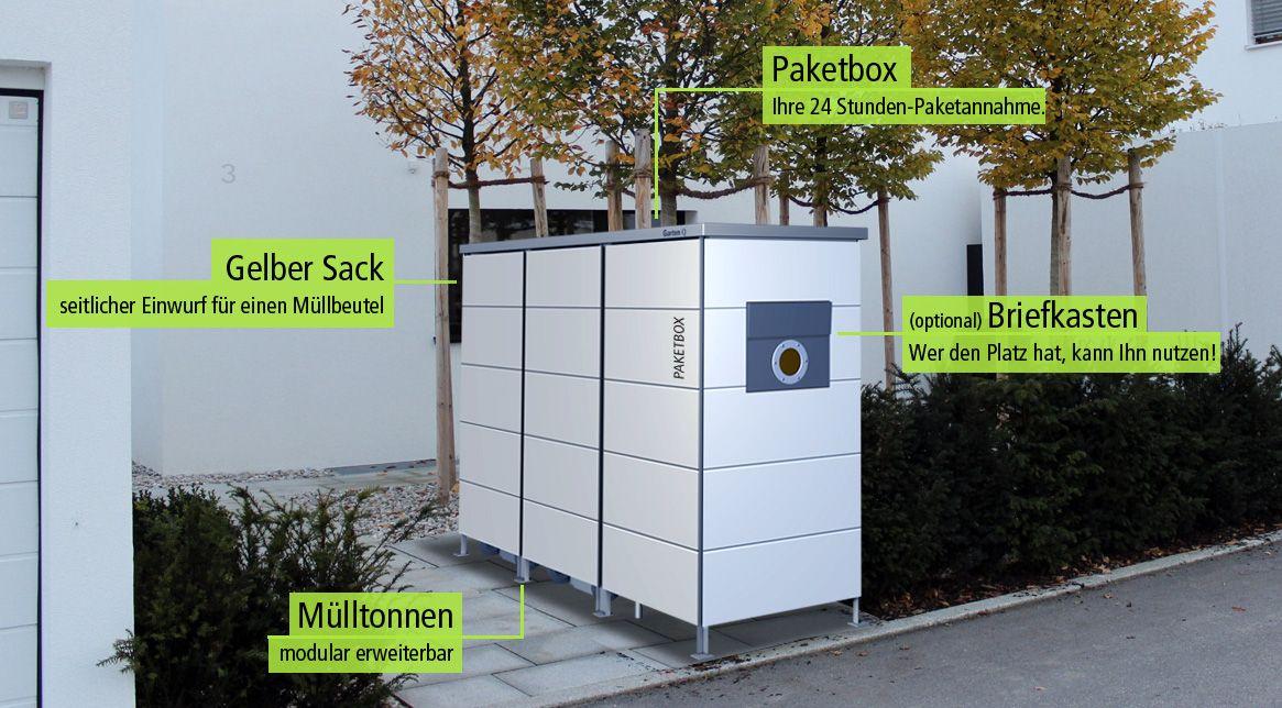m lltonnenbox mit integrierter paketbox und auf wunsch mit briefkasten von garten q. Black Bedroom Furniture Sets. Home Design Ideas