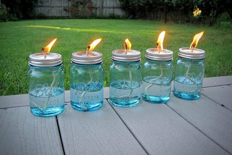 Mason Jar Citronella Oil Lamps