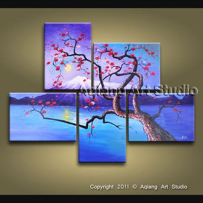 Modern Oil Painting Urban Art Zen Multiple Canvas Fuji Cherry Blossom Tree H813 Multi Canvas Art Multi Canvas Painting Modern Art Abstract